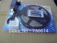 Wholesale 5m/lot 5050 300 5M RGB LED Strip Light SMD 60LEDs/m Waterproof + 44 IR Remote+ 5A Adaptor, Promotion Price