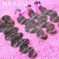 Free Shipping Brazilian Virgin Hair Body Wave closure and bundles promotion set 3pcs 3.5oz/pc bundle with 1pc 4X4 lace closure