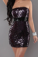 2013 Free Shipping Three Color Paillette Women's Evening Dress Sexy Club Wear Dress Lingerie Dress  Strapless  Mini Dress