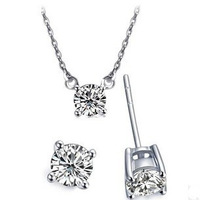 Hot fashion wild  popular holiday gift Europe imported special A shining zircon Hearts and Arrows earring necklace jewelry set