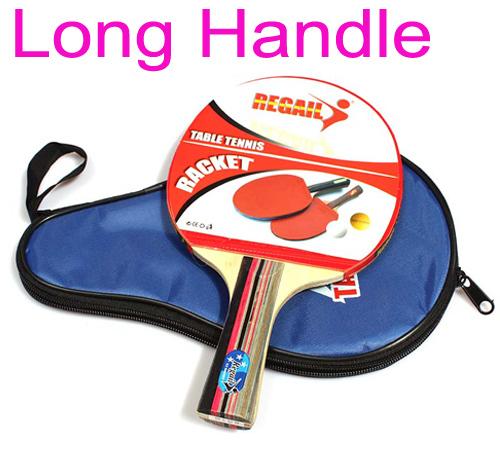 Long Handle Shake-hand Table Tennis Racket Ping Pong Paddle + Waterproof Bag Pouch Drop shipping(China (Mainland))