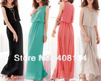Aliexpress Lowest price Women's bohemian maxi dress Pleated Sleeveless Chiffon women maxi dress Long Holiday Beach Dress