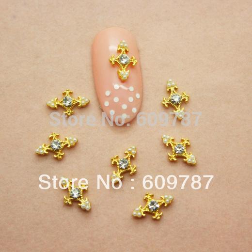 20pcs/bag Nail Art Metal Crosses Decorations Charms Crystal Rhinestone Nails Sticker(China (Mainland))