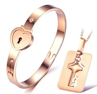 New 316L Stainless Steel Eternal Loyal to Love Contract Lock Key Bangle Bracelet Bangle Necklace Jewelry Set,3 colors for choice