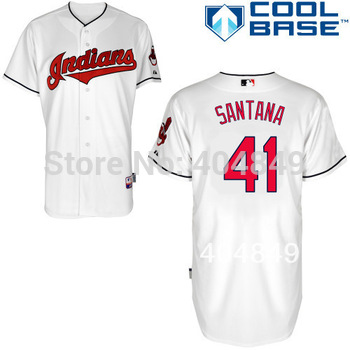 AA+ 41 multi type Carlos Santana jersey,Indians new white gray ivory navy authentic jersey