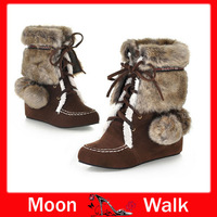 Snow boots warm for lady lace up short nubuck leather winter patchwork lace up women's shoes ankle free shipping big size L1856