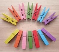 100 x Mini WOOD 35mm Wooden Photo Paper Peg Clothespin Clothes Pin Craft Clip[05030112]