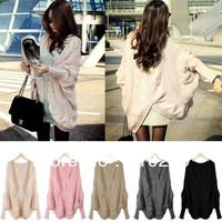 A487 free shipping 2013 women new fashion korea sweet long sleeve batwing sleeve cardigan autumn winter knitted sweater coats