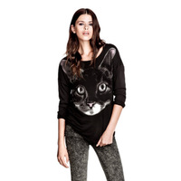 2013 autumn fashion black long ears cat animal print long-sleeve sweatshirt pullover top outerwear T-shirt women's female WTH025