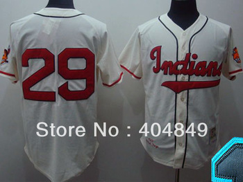 AA+ 29 multi type Satchel Paige jersey, Indians ivory gray home throwback authentic,women men custom baseball free shipping