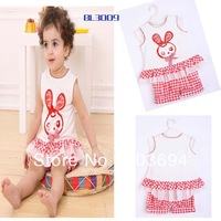 Wholesale Free shipping  hot sell 2013 girl suit T-shirt +Shorts children clothing L1