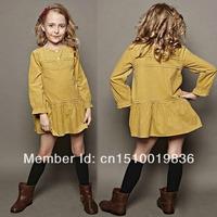 New 2013 Girls dress children long-sleeve dresses kids clothes baby cute dress Free Shipping