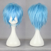 Free Shipping Cheap 35cm Short karneval-KAROKU Ligh Blue Cosplay Anime Wig