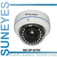 SunEyes SP-Q702 ONVIF 1280*720P HD 1.0MP Mini Dome IP Camera Outdoor/Indoor Waterproof Metal Case IR Night Vision P2P Plug Play
