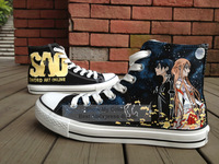 Sword Art Online Anime Shoes Men/Women black Canvas Sneakers Hand Painted High Top Shoes