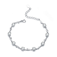 Wholesale & Retail for 100% Genuine 925 Sterling Silver  Bracelet Mosaic White Zircon with White Gold, Top Quality!! (E0010)
