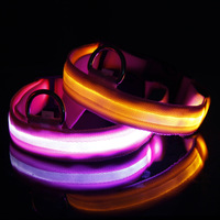 Free shipping  Pet Safety LED Dog Collar Night Flashing Glow Light Pink Nylon Collar S M L XL SL00404