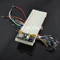 Free shipping! 3.3V/5V Breadboard power module+830 points Bread board +65 Flexible jumper wires