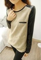 New 2014  Women Clothing PU Leather Sleeve  t shirts t shirts t-shirts Blouse Blouses t shirt Blouses dg1006