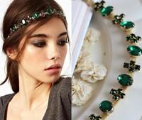 Fashion Emerald Gem Hairband Head Band Classic Green Cross Crystal Head Chain Headpiece  Elastic Hair Band Accessories
