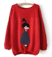 Sweaters 2013 Women Fashion Long Sleeve O-neck Pullovers Cute Sweaters for Girl Cartoon Patch Shy Girl Sweater Knit