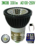 10pcs/lot   E27 3W COB 330lm Black Aluminum shell (COB33) Led Spotlight AC100-250V
