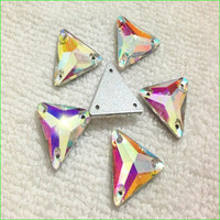 New Arrive Sewing On Triangle Crystal Button Flat Back Fancy Stone  16mm Crystal AB