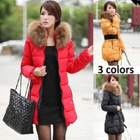 2013 women clothing winter large fur wadded jacket outerwear lady thickening cotton-padded parkas female medium-long zipper coat