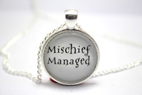 10pcs/lot Harry Potter  'Mischief Managed'  Necklaces glass cabochon necklace