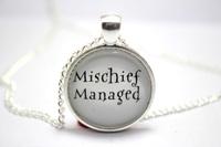 10pcs/lot Harry Potter  'Mischief Managed'  Necklaces glass cabochon necklace
