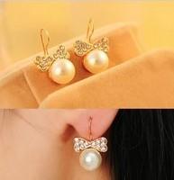 fashion earrings 2014  accessories earring pearl  bow earrings unique stud earring female A0285