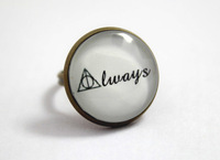 10pcs/lot Harry Potter Deathly Hallows 'Always' Ring in Antique Bronze Glass Cabochon Ring
