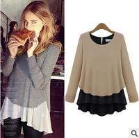 2014 ZA Women Blouse Full Sleeve O-Neck Cotton Chiffon Patchwork Pullovers High Street Shirts Beige/Grey S M L XL
