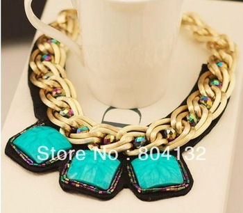 HOT Europe Style Luxurious Exaggeration Vintage Temperament Short Necklace Double-thick Manual Geometry Box Necklaces