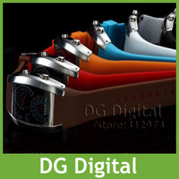 New arrival RPM Turbo Blue Flash LED Mens Sports Car Meter Dial Watch Wrist Watch+ Free Shipping