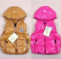 Candy color child down vest male child down vest female baby child down vest shiny thickening