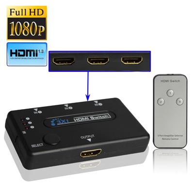 3 Ports HDMI Amplifier Switcher 1080P HDTV Splitter Switch w/ Remote Control(China (Mainland))