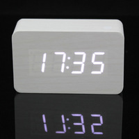 white LED Night light Wood Digital Wooden Alarm Clock LED Temperature thermometer voice activated Free Delivery