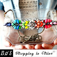 Multicolour 2013 neon gem transparent pvc chain one shoulder day clutch