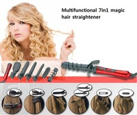 Hot Sale Multifunctional seven in one big wave roll corn clip the hair straightener wand Curling Irons magic curler Freeshipping