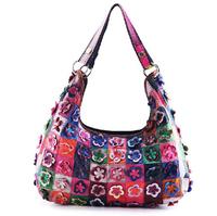 Free Shipping 2013 New 100% Genuine Leather Woman Bags Fashion Flower Handbags Ladies Shoulder Bag Sheepskin Messenger Bag M107