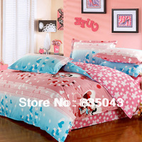 FREE Ship! Hot Sell !YMJ Textile Romantic 4pcs Bedding Sets Reactive print 100%Cotton Floral Bedding set king size Pink bedcloth