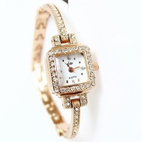 Fashion Casual Womens Rose  All Rhinestone Bracelet Watches Design Relojes Free Shipping Women Dress Watches New 2013