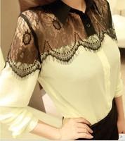 2013 HOT Womens Casual Black Lace Chiffon Splicing Tops Long Sleeve Blouse Tops
