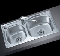 8244 quality stainless steel double bowl kitchen sink slot 82*44*22cm