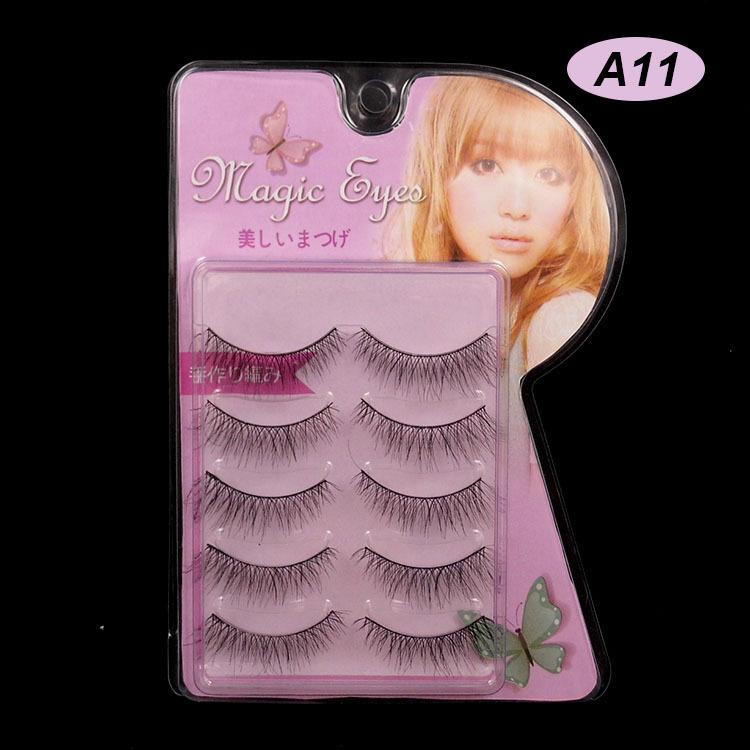 Limited Edition Cross Section Black False Eyelashes Eyelash Eye Lashes Makeup A-11 # Handmade(China (Mainland))