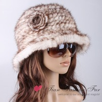 free shipping packed with box natural mink fur hats with flower attached Vogue style