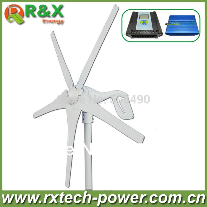 Horizontal wind turbine generator 400w rated, 600w max wind generation +wind/solar hybrid controller(LCD display)+600w inverter.(China (Mainland))