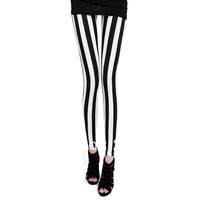 Autumn Brand New Arrival Women's Ankle Length Black White Pants Vertical Stripe Zebra Thin Size S M L XL Leggings Free Shipping