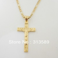 "Free Shipping/Min order 10$ 18K YELLOW GOLD GP 24"" FIGARO NECKLACE&JESUS CROSS WITH WORD INRI PENDANT/Great Gift/Money Maker"